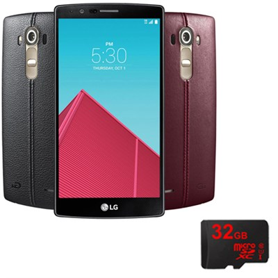 G4 Smartphone 32GB Unlocked GSM (US991) w Leather Back Cover & 32GB microSD Card