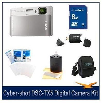 Cyber-shot DSC-TX5 10.2 MP Digital Camera (Silver) with 8GB Card, Case, More