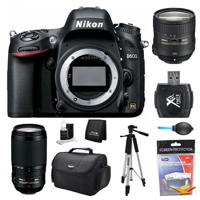D600 24.3 MP CMOS FX-Format Digital SLR Camera Body 24-85 and 70-300mm Lens Kit