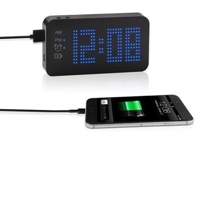 Blue Dot Matrix Display Alarm Clock with Portable Power Bank SXE87004
