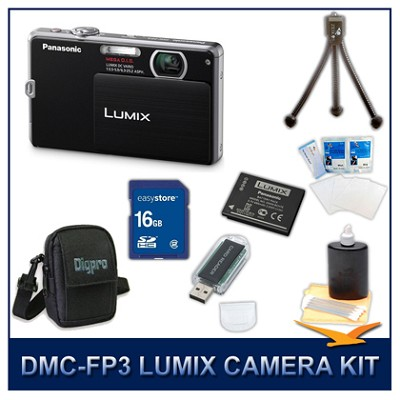 DMC-FP3K LUMIX 14.1 MP Digital Camera (Black), 16GB SD Card, and Camera Case