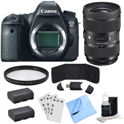 EOS 6D 20.2 MP DSLR Camera Body - Top Rated & Sigma 24-35mm Lens Power Bundle