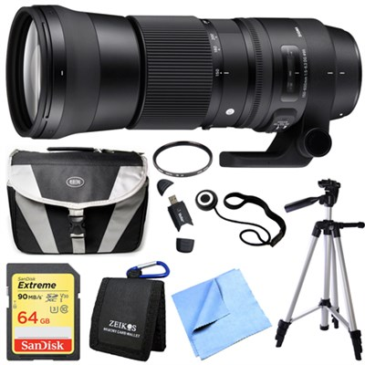 150-600mm F5-6.3 DG OS HSM Zoom Lens (Contemporary) for Nikon DSLR Camera Bundle
