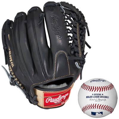 Gold Opti-Core 12` Right Hand Throw Baseball Glove w/ Rawlings Baseball