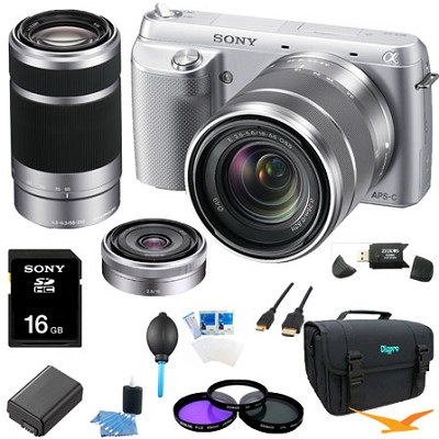 NEX-F3K Digital Camera built in flash with 18-55, 16 f2.8, 55-210 Lenses(Silver)