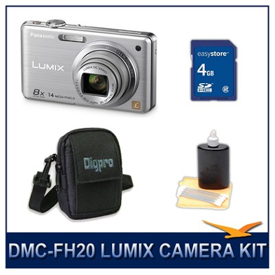 DMC-FH20S LUMIX 14.1 MP Digital Camera (Silver), 4GB SD Card, and Camera Case