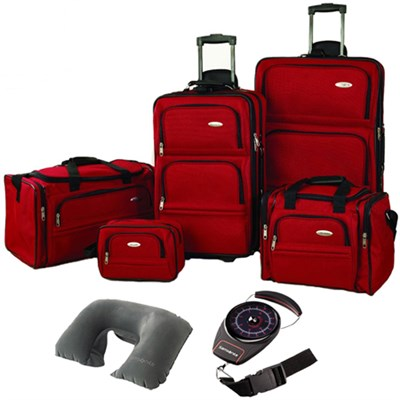 5 Piece Nested Luggage Set Red 17386-1726 w/ Travel Kit