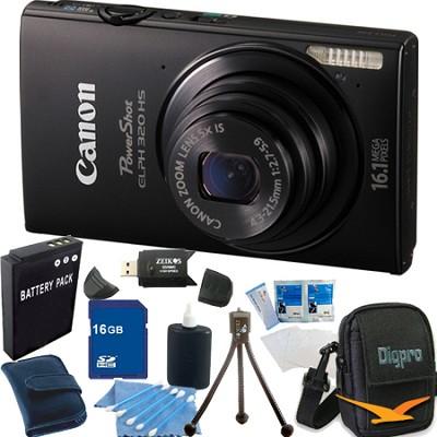 PowerShot ELPH 320 HS 16MP Black Digital Camera 16GB Bundle
