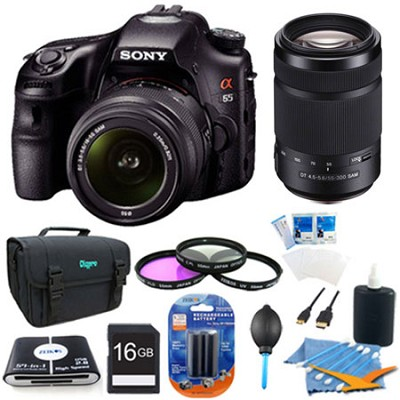 SLTA65VL - a65 Digital SLR Camera 24.3 MP w 18-55 & 55-300mm Lenses Plus Bundle