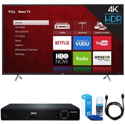 55-Inch 4K Ultra HD Roku Smart LED TV (2017 Model) w/ HDMI DVD Player Bundle