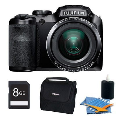 FinePix S6800 16 MP 30x Wide Angle Zoom Digital Camera Black 8GB Kit