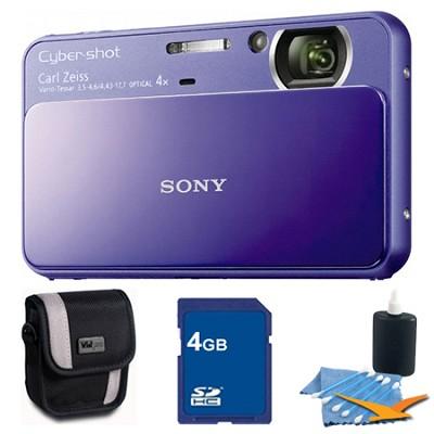 Cyber-shot DSC-T110 Purple Touchscreen Digital Camera 4GB Bundle