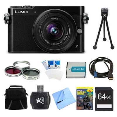 LUMIX GM5 DSLM Black Camera Plus 12-32mm Lens 64GB Bundle