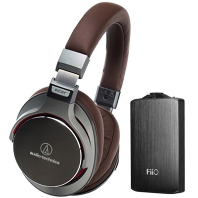 SR7 SonicPro Over-Ear High-Resolution Headphones w/ FiiO A3 Amplifier, Gun Metal