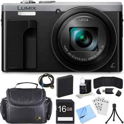 ZS60 LUMIX 4K 18 MP Digital Camera with Wi-Fi - Silver (DMC-ZS60S) 16GB Bundle