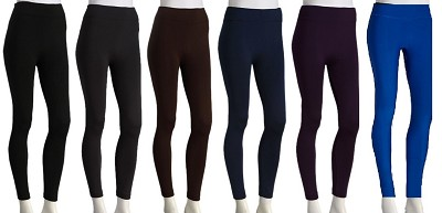 3-Pack Fleece Leggings (1 Dark Grey, 1 Brown, 1 Purple) 1X/2X