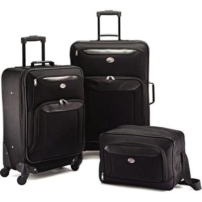 Brookfield Black 3 Piece Luggage Set (21` Spinner, 25` Spinner, Boarding Bag)