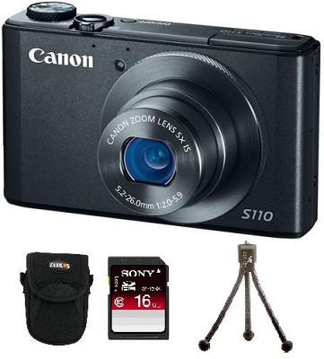 PowerShot S110 Compact High Performance Digital Camera (Black) Bundle Deal