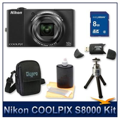 COOLPIX S8000 14.2 Megapixel Digital Camera (Black) Kit w/ 8GB Card