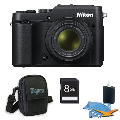 COOLPIX P7800 12.2MP 7.1x Opt Zoom 3` LCD Black Digital Camera 8GB Kit