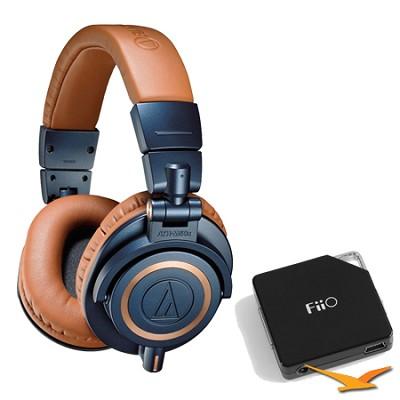 ATH-M50X Blue Professional Headphones - LIMITED SPECIAL EDITION Amplifier Bundle