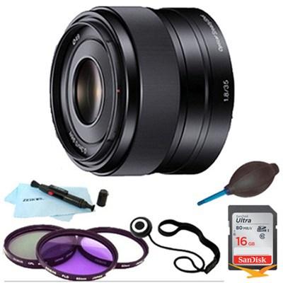 SEL35F18 - 35mm f/1.8 Prime Fixed E-Mount Lens Essentials Bundle