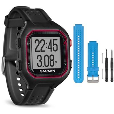 Forerunner 25 GPS Fitness Watch - Large - Black/Red - Blue Band Bundle