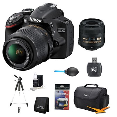 D3200 DX-format Digital SLR Kit w/ 18-55mm and 40mm DX VR Zoom Lens Kit