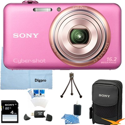 DSC-WX70/P - 16.2MP Exmor R CMOS Camera 3.0` LCD 5x Zoom (Pink) 4GB Bundle