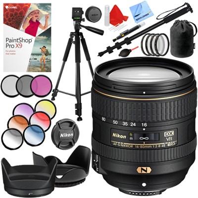 AF-S DX NIKKOR 16-80mm f/2.8-4E ED VR Lens with 72mm Filter Sets Kit