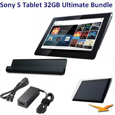 32 GB Tablet S with Wifi BUNDLE with Sony AC Adapter, Cradle, LCD Protectors