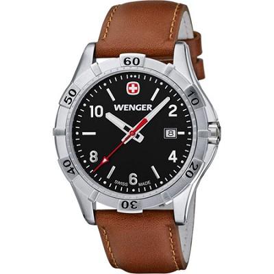 Men's Platoon Analog Watch - Black Dial/Brown Leather Strap