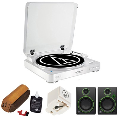 Fully Automatic Wireless Belt-Drive Stereo Turntable-White w/ Studio Monitor Kit