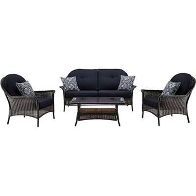 San Marino 4-Piece Seating Set in Navy Blue - SMAR-4PC-NVY
