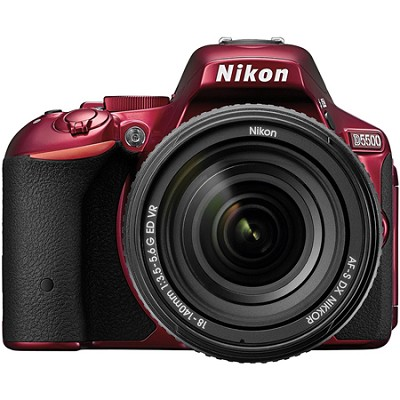 D5500 Red DX-format DSLR Camera w/ AF-S NIKKOR 18-140mm f/3.5-5.6G ED VR Lens