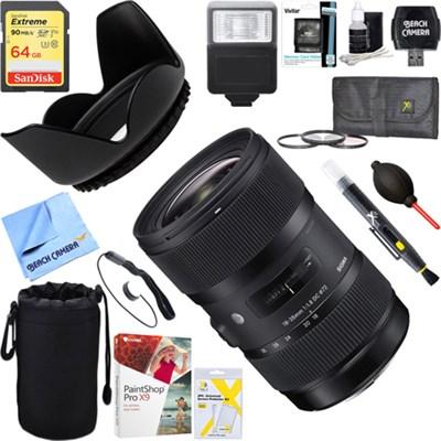 AF 18-35mm f/1.8 DC HSM Lens for Canon + 64GB Ultimate Kit