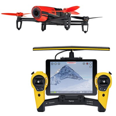BeBop Drone 14MP Full HD 1080p Fisheye Camera SkyController Bundle (Red/Yellow)