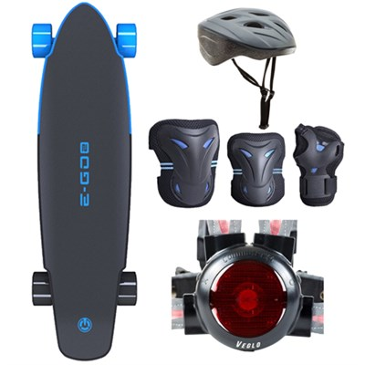 E-GO 2 Electric Skateboard - Royal Wave Blue with Safe Skater Bundle