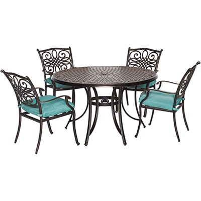 Traditions 5pc Dining Set:48  Round table4 dining chaisblue cushions