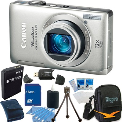 PowerShot ELPH 510 HS Silver Digital Camera 16GB Bundle
