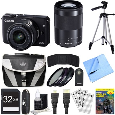 EOS M10 Camera w/ EF-M 15-45mm IS STM + EF-M 55-200mm IS STM Lenses 32GB Bundle