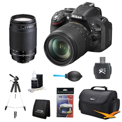 D5200 DX-Format Digital SLR with 18-105mm and 70-300mm (MANUAL FOCUS) Lens Kit