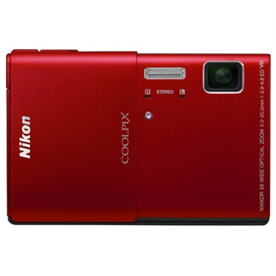 COOLPIX S100 16MP Red Compact Digital Camera w/ 3.5in. Touch Screen Refurbished