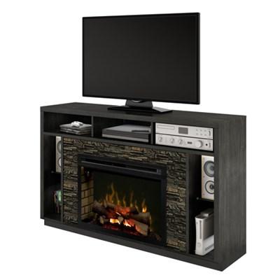 Joseph Media Console & Electric Fireplace  (with logs) Black Steel