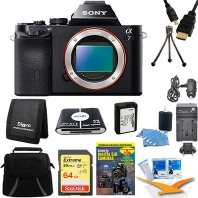 Alpha 7 a7 Digital Camera 64GB SDXC Card, Battery Bundle