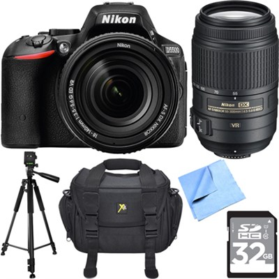 D5500 DX Digital SLR Camera Body w/ 18-140mm + 55-300mm Dual Lens 32GB Bundle