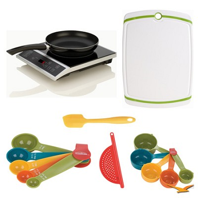 Countertop Induction 2 Pc. Cooking Set, Cutting Board, and Measuring Sets Bundle