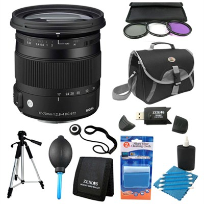 17-70mm F2.8-4 DC Macro OS HSM Lens for Nikon Deluxe Filter Kit Bundle