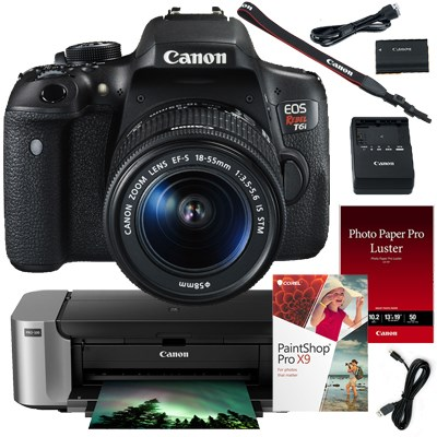 EOS Rebel T6i DSLR w/ 18-55mm IS STM Lens + Pro 100, Paper, Paintshop Pro X9