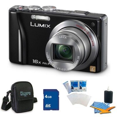 Lumix DMC-ZS10 14.1 MP Camera 16x Zoom Optical I.S. Lens w GPS Black 4 GB Bundle